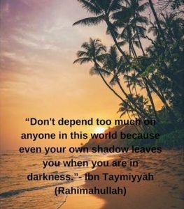 ibn taymiyyah quotes Don't depend too much on anyone